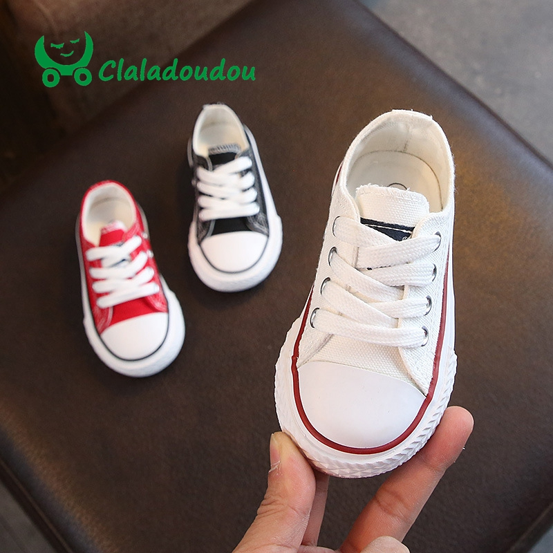 Claladoudou 13.5-18.5CM Kids Casual Shoes Red White Black Children Unisex Canvas Shoes Toddler Breathable Sports Shoes For Baby
