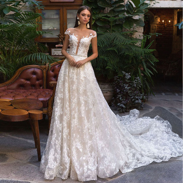 Modest Full Lace Wedding Gowns 2018 Spring Vestido de noiva Cap Sleeve  Backless Bridal Gowns Custom Made Party Dress Casamento-in Dresses from  Women s ... 767a1f7ea