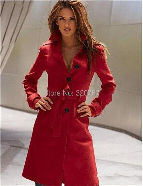 Grande Mode Cachemire Laine Des Qt126 blanc Sexy Moyen Tranchée or Survêtement rouge Tissu Femmes Slim Taille Pardessus Manteau Noir Dames Longueur De Manteaux A5wqw7