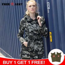 Hooded Jacket Military-Pockets Outerwear Women's Coats Casual New-Fashion Zipper Slim