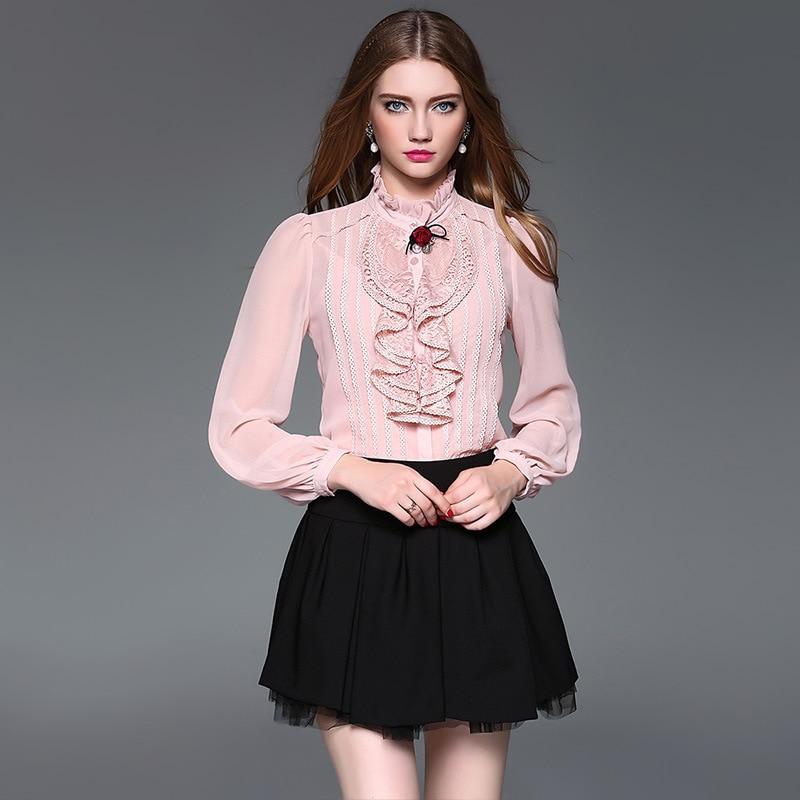 2017 Spring New Lace Ruffles Women Silk Georgette Blouse Shirt Fashion Long Sleeve Appliques Silk Satin Blouses Shirt Women Tops