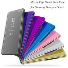 Smart Flip Stand Mirror Case For Samsung Galaxy J2 Core Case Clear View PU Leather Cover For Samsung Galaxy J2 Core Case Cover стоимость