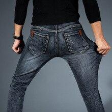 Эластичные джинсы, Мужские Стрейчевые потертые джинсы, прямые брюки, мужские хлопковые брюки, мужские джинсы черного и синего цвета, размер 28-38 40
