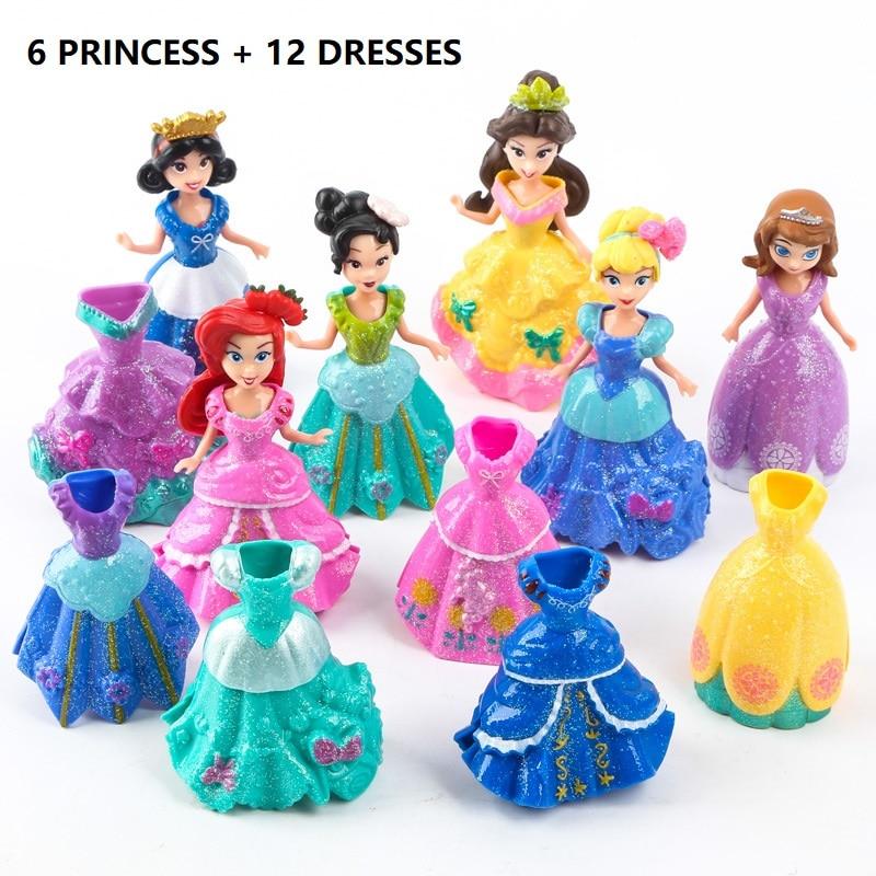 18 pz / set Kids my cute little Anna e Elsa 6 dolls + 12 dress Toy - Figurine giocattolo