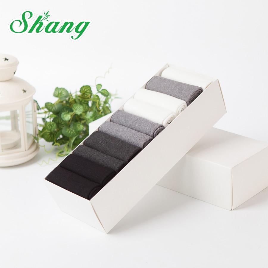 BAMBOO WATER SHANG 10/pairesGift box packaging Men Bamboo fiber socks men elite business casual socks LQ-52