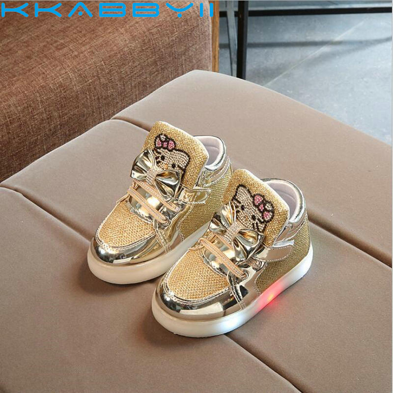 Children Shoes With LED Light 2018 Spring Girls Fashion Glowing Sneakers Kids Cartoon Kitty Flats Shoes Kids Light Up ShoesChildren Shoes With LED Light 2018 Spring Girls Fashion Glowing Sneakers Kids Cartoon Kitty Flats Shoes Kids Light Up Shoes
