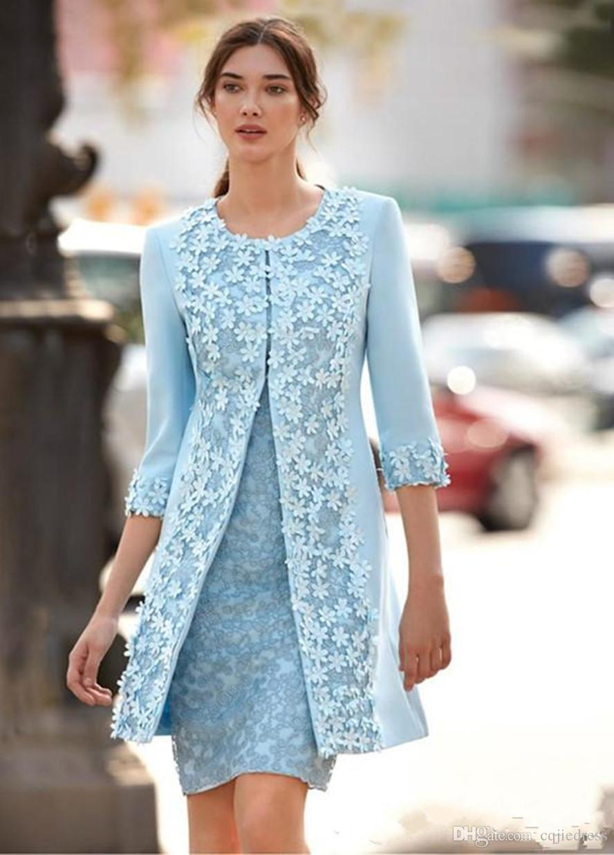 Carla Ruiz 2018 Light Blue Mother Of The Bride Dresses With Jacket Sheath Knee Length Short Wedding Guest Dress Arabic 3D Flower