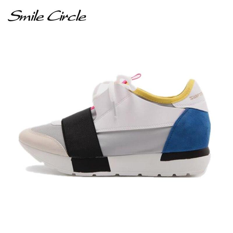 Sourire Cercle 2018 Printemps Automne Casual Chaussures Womon Mode bout Pointu Dentelle-up Sneakers Pour Femmes Plat Plate-Forme Chaussures femme