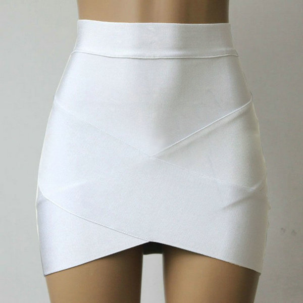 Cross Irregular Hem Solid Skirt Fitted Mini Skirts Women's Bodycon Stretch Skirt