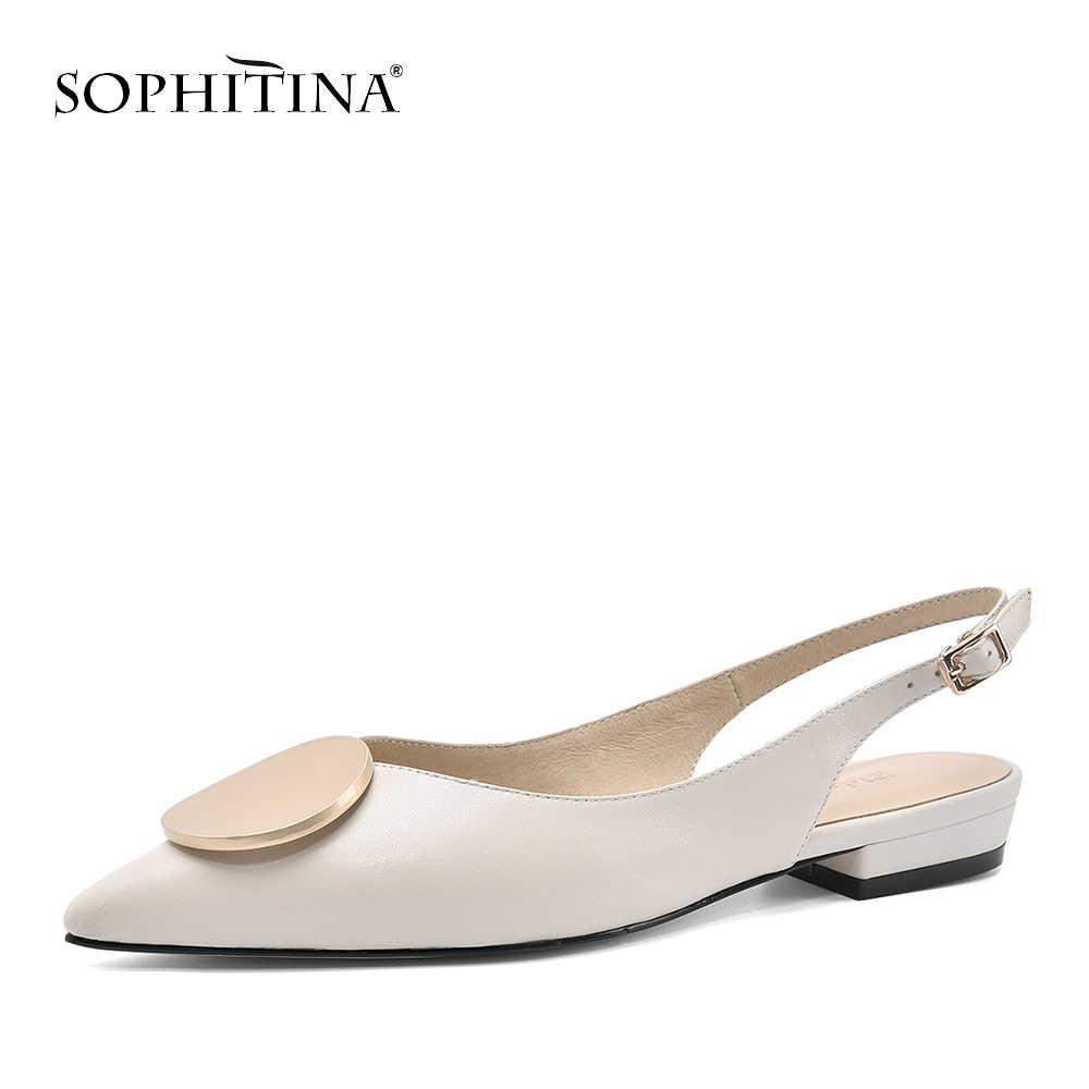 Sophitina Thời Trang Da Thật Chính Hãng Da Giày Sandal Nữ Công Sở Cơ Bản Khóa Dây Giày Mùa Xuân, Mùa Thu Gợi Cảm Thấp Gót Giày Sandal Nữ PO159