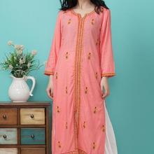Индийская мода, Женский этнический стиль, костюм с вышивкой, хлопковый топ, весна-лето, одежда для путешествий, танцев, красивый Женский Длинный топ+ штаны
