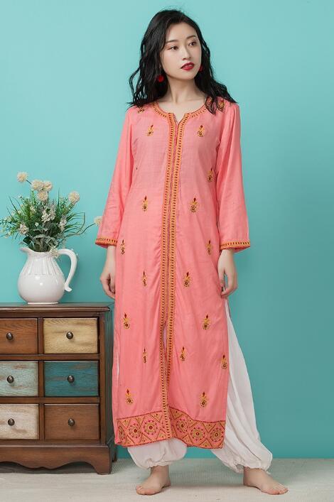 Inde mode femme Styles ethniques broderie Costume haut en coton printemps été voyage danse vêtements belle dame Long haut + pantalon
