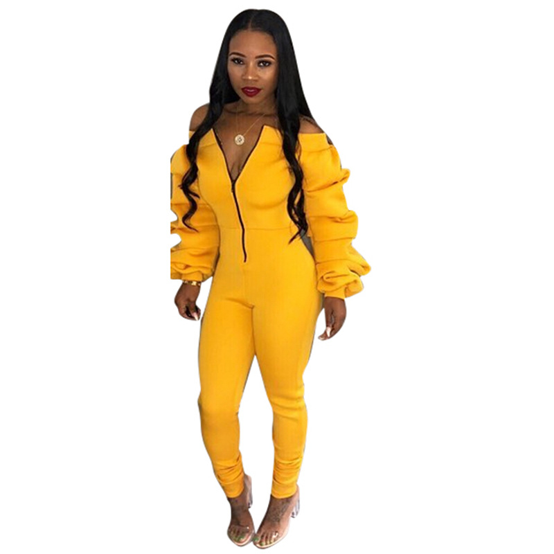 Sexy Backless Off Shoulder Yellow   Jumpsuit   Women Tiered Ruffle Long Sleeve   Jumpsuit   Romper Female Casual Overall Femme
