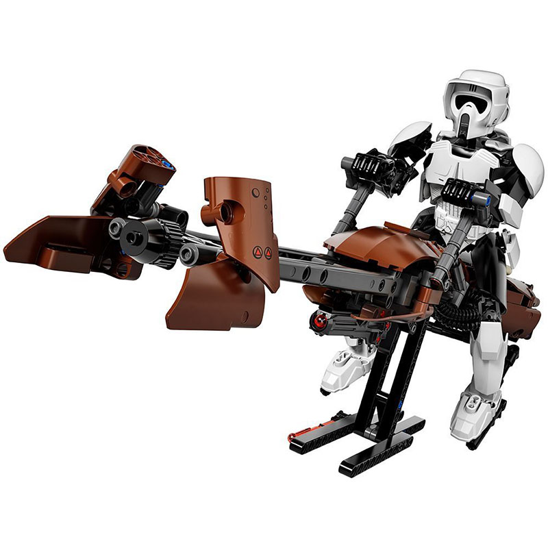 DIVERSION Star Wars Scout Trooper & Speeder Bike blocks figure Building Kit toys for children birthday christmas gift wisehawk nano star wars yoda building blocks big size characters figure educational toys diy assembly micro brick christmas gift