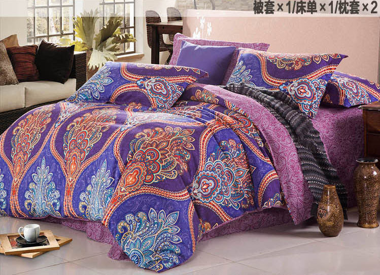 Retro Palace Bedding Set Blue Paisley Bedding Duvet Cover King Size
