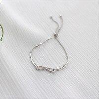 Jsping Fashion Real 925 Sterling Zilveren Armband Rhodium Plated Box Chain Bal Kwastje Zirkoon Strik Armbanden Voor Vrouwen Studt