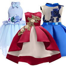 Children Wedding Party Kids Dresses For Girls Open Back Flower Baby Clothes Christmas Dress