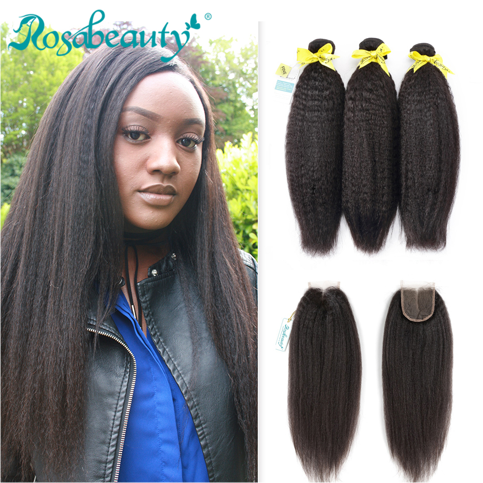 Kinky Straight Hair Extensions 8A Bundles With Closure Brazilian Hair Weave Bundles With Lace Closure Rosabeauty
