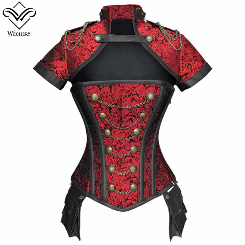 Wechery Corselet Corset  Steampunk Gothic Cut Out Bustier Vintage Black Red Floral Top for Women Short Sleeve Costume Clothing