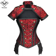 Weشيري كورسيليت مشد Steampunk القوطية قطع بوستير خمر أسود أحمر الأزهار أعلى للنساء قصيرة الأكمام زي الملابس