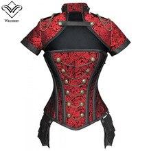 Wechery Corsetto corsetto Steampunk Gotico Cut Out Bustier Vintage Nero Rosso Floreale Top per Le Donne Del Manicotto Del Bicchierino Del Costume Abbigliamento