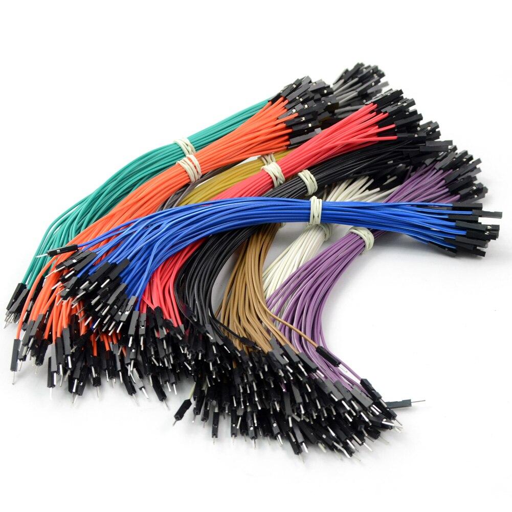 Высокое качество 40 шт 20 см 2,54 мм двухголовый Женский к мужскому Dupont провод случайный цвет Соединительный кабель для Arduino