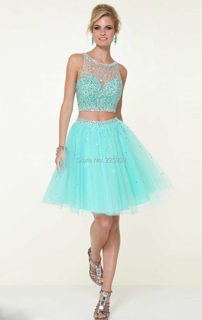 58fa198b158 New Boat Neck Crystal Rhinestone Beaded Top Mini Short Two Piece Mint Green Crop  Top Homecoming Dresses Sparkly 2 Pieces Gowns