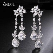 ZAKOL Plateado Lujo Teardrop Cubic Zircon Cuelga El Pendiente de la Joyería de Diamantes de Imitación Para Las Mujeres Regalo Exquisito FSEP230