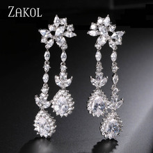 ZAKOL Silver Plated Luxury Teardrop Cubic Zircon Dangle Earring Imitation Diamond Jewelry For Women Exquisite Gift FSEP230