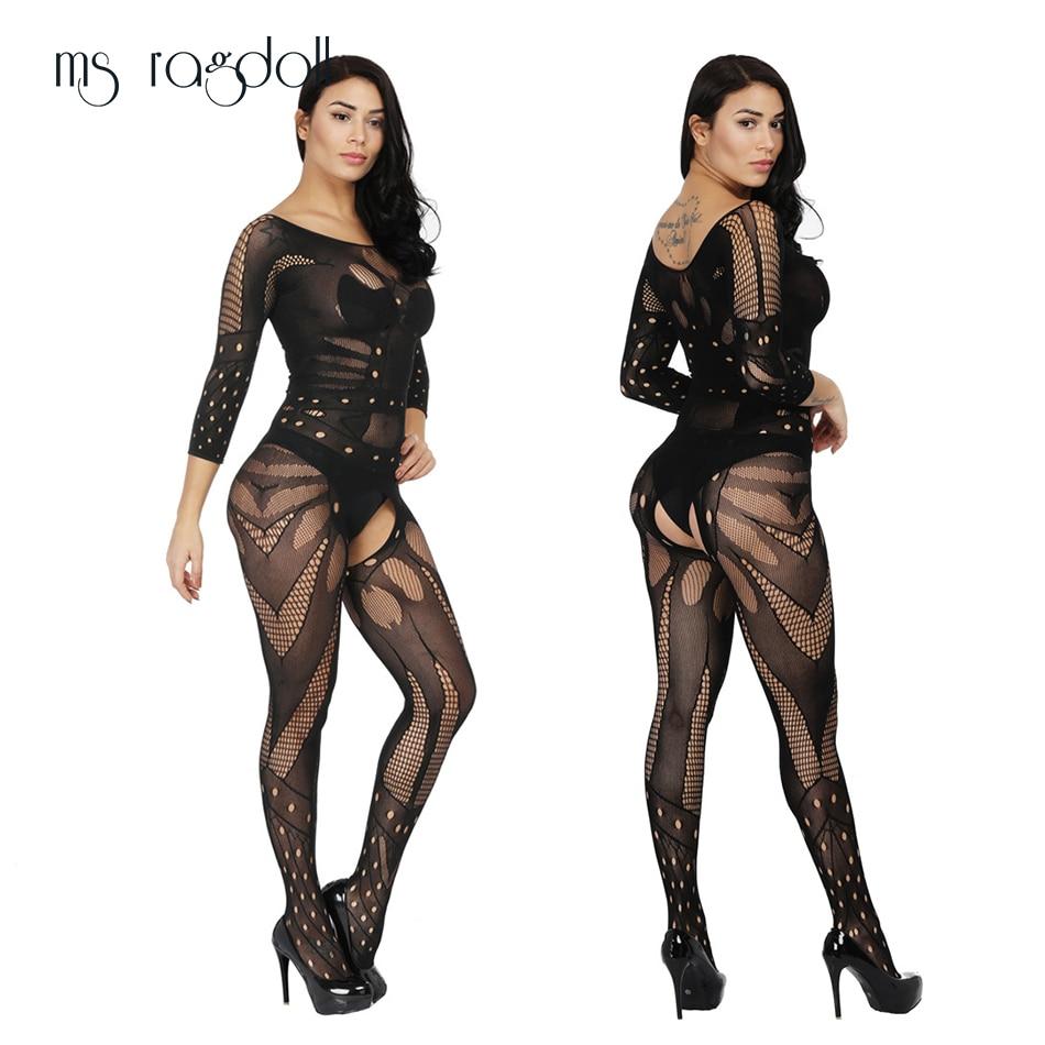 Ms Ragdoll Sexy Bodystockings Black Sex Nightwear Erotic Appear Underwear Sleepwear Intimate Kimono Sex Product Crotchless Teddy
