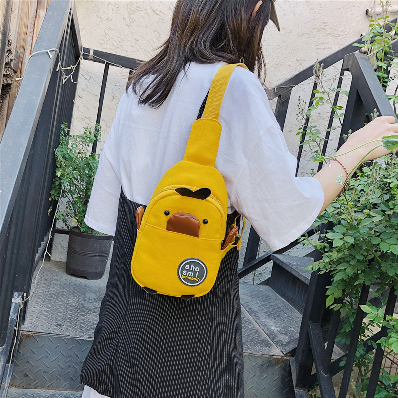 Waist Bag Women Fanny Packs Chest Bags Fashion Canvas Yellow Duck Pattern For Child Banana Female Belt Bag Womens Waist Bag
