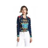 2017 Women Fashion High Quality T Shirt Harajuku Long Sleeve Printing Turn Down Neck Tshirt Female