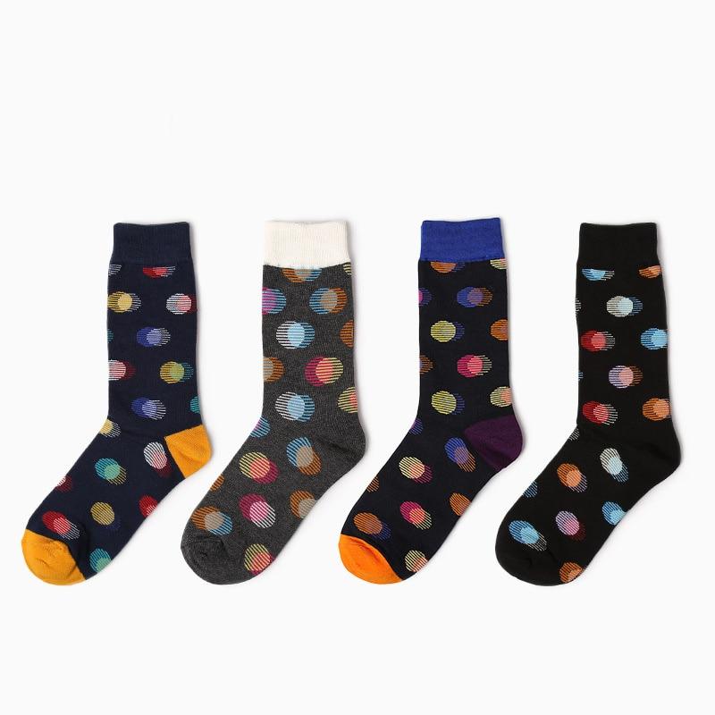 Novelty Contrast Color Business Socks Mens Pure Cotton Dress Socks Creative Dot Patterned Dress Long Socks
