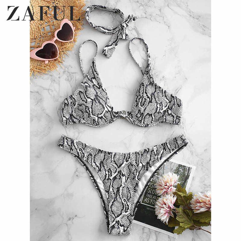 ZAFUL wąż drukuj Bikini kobiet strój kąpielowy kobiety stroje kąpielowe stringi Push Up Bikini zestaw wysokiej talii stroje kąpielowe dla strój kąpielowy