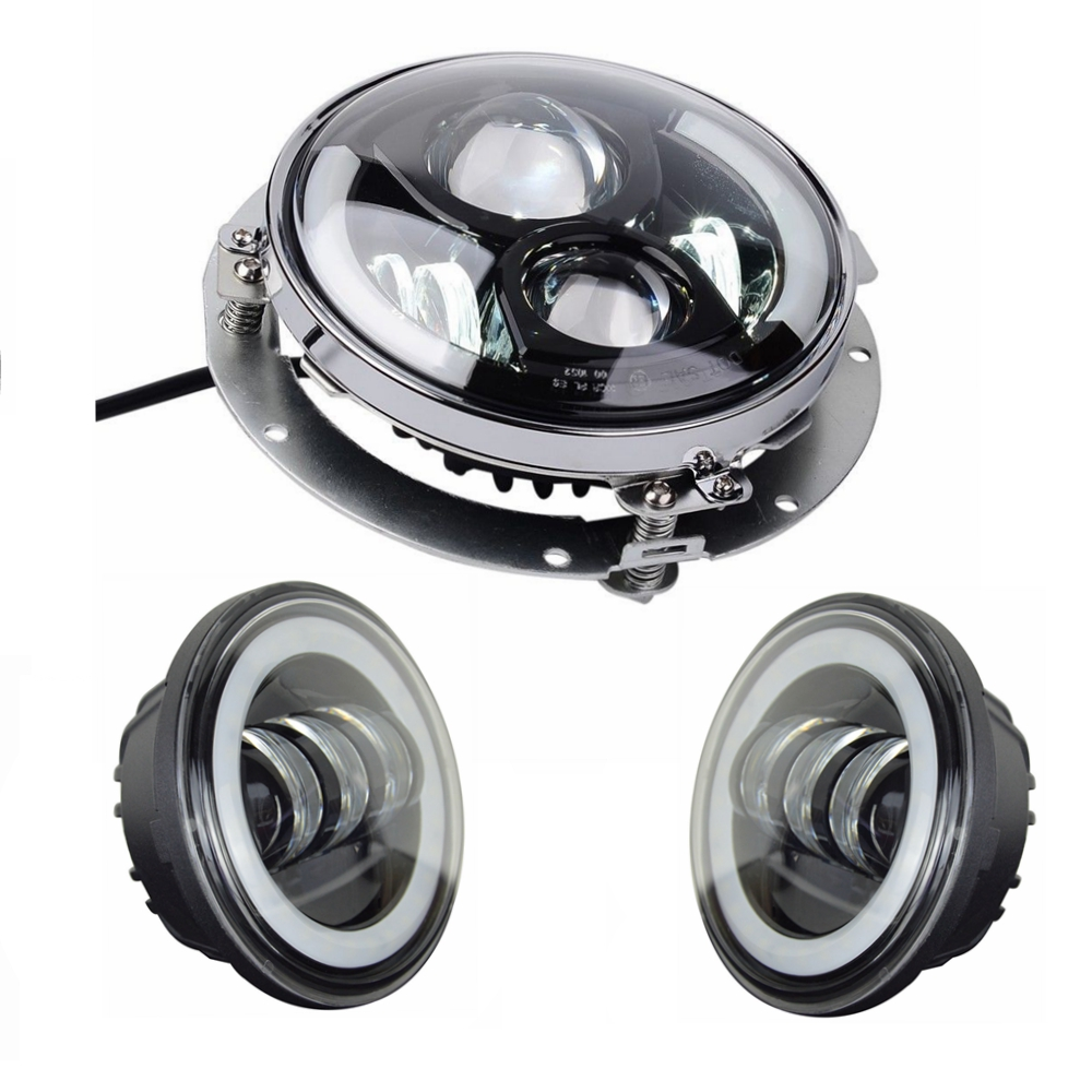 цена на 7 inch BLED Headlight Daymaker with Halo Ring + 2pcs 4.5 inch LED Fog Passing Lights + Adapter Ring For Harley Davidson Softail