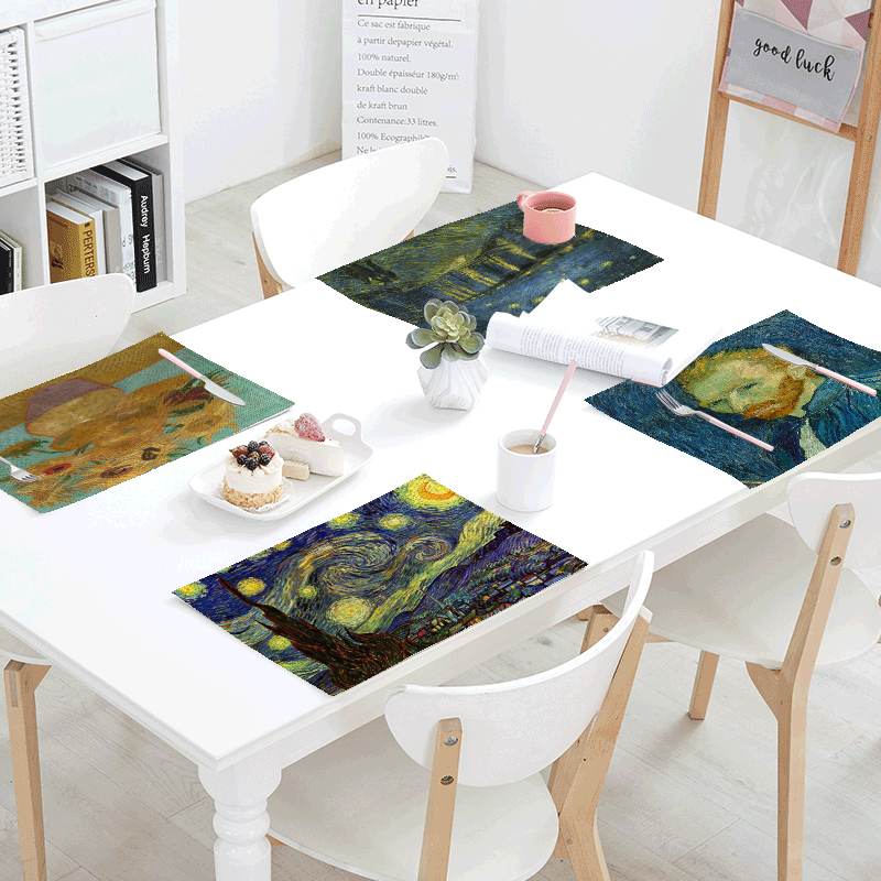 Van Gogh Printing Table Napkins Star Moon Night Iris Flower Sunflower Party Decor Tablecloth Table Skirt Kitchen Decor Placemat