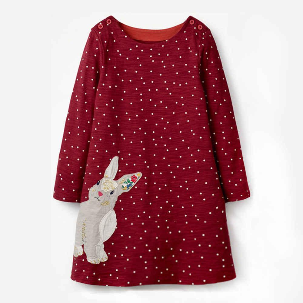 277f7dcff49e Jumping Meters Rabbit Unicorn Printed Autumn Princess Dress Brand Kids  Dresses Baby Girls Clothes Long Sleeve