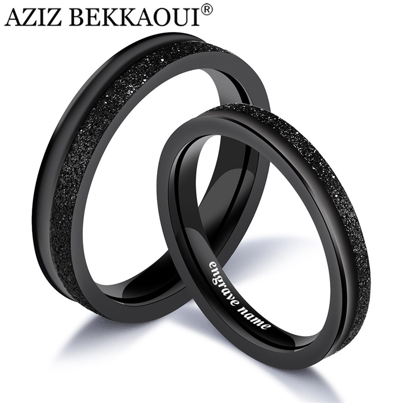 Couple Rings Wedding-Bands Engrave Name Engagement Stainless-Steel Black Cool Women