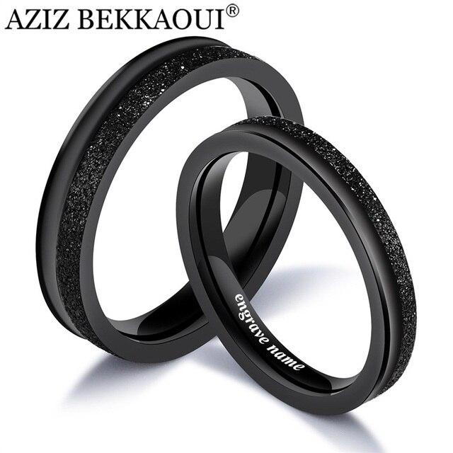 AZIZ BEKKAOUI Black Couple Rings Cool Engrave Name Matte Rings For Women Men Sta
