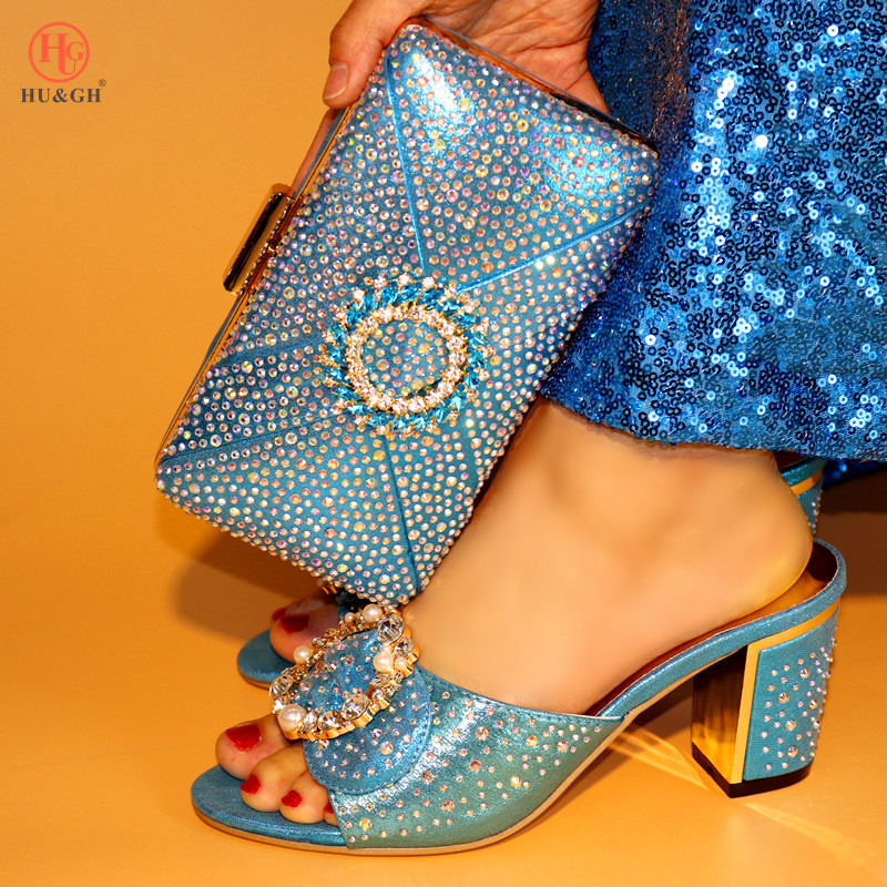 2018 Sky Blue Italian Shoes with Matching Bags African Women Italian Shoes and Bag Set Nigerian Women Wedding Shoes and Bag Sets italian shoes with matching bags african women shoes and bags set in hot selling blue shoes and bag set to matching hjx1 12