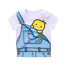 Summer Tee for Toddler Baby Boys Girls T-Shirts Cotton Rabbit Elephant Excavator Car Cartoon Print White 1-4 Years