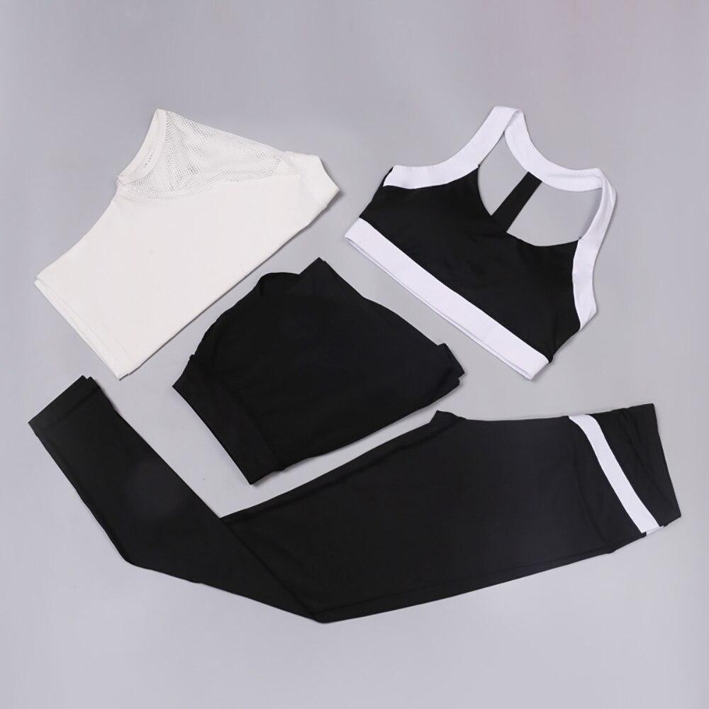 Ensemble de gymnastique sans couture 4 pièces ensembles de Yoga femmes Gym sport soutien-gorge + Leggings + Shorts + T-shirt femme vêtements de sport femme costume de Fitness