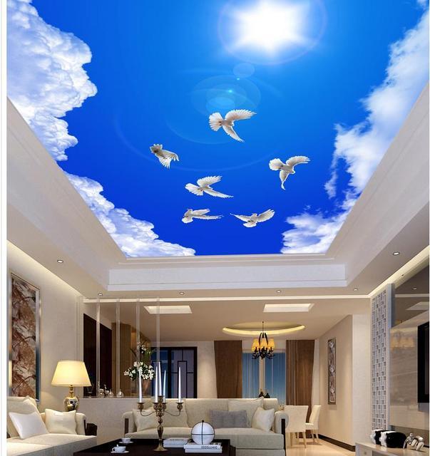 Bleu ciel nuage soleil blanc colombe plafond 3d peintures murales de papier peint pour salon style