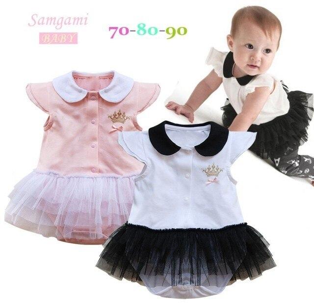 2016 nueva primavera ropa de bebe baby girl dress de la manga corta infantil del mameluco lindo imperial crown traje del cabrito usan el envío gratis