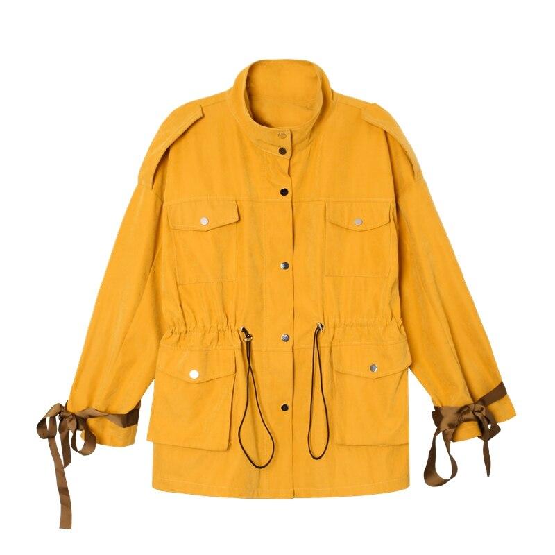 Mode De Capuche Manteaux Yellow Femelle apricot Avec Outwear Coupe Streetwear coat Cardigans Manches À Longues Éclair Trench Printemps Lâche vent Femmes Décontracté Longue Fermeture ARL54j