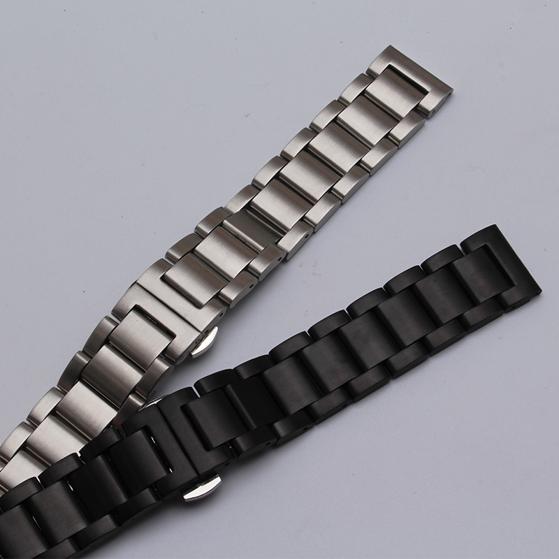 Watch band 20mm 22mm Black Silver Stainless Steel Watch Band Strap Straight End Bracelet For Smart Watch gear s3 matte unpolish ysdx 398 fashion stainless steel self stirring mug black silver 2 x aaa