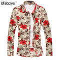 Men 's Top 2016 Brand Design Big Size long Sleeve  mercerized cotton high elastic   Stylish New Flower Casual Men Shirt