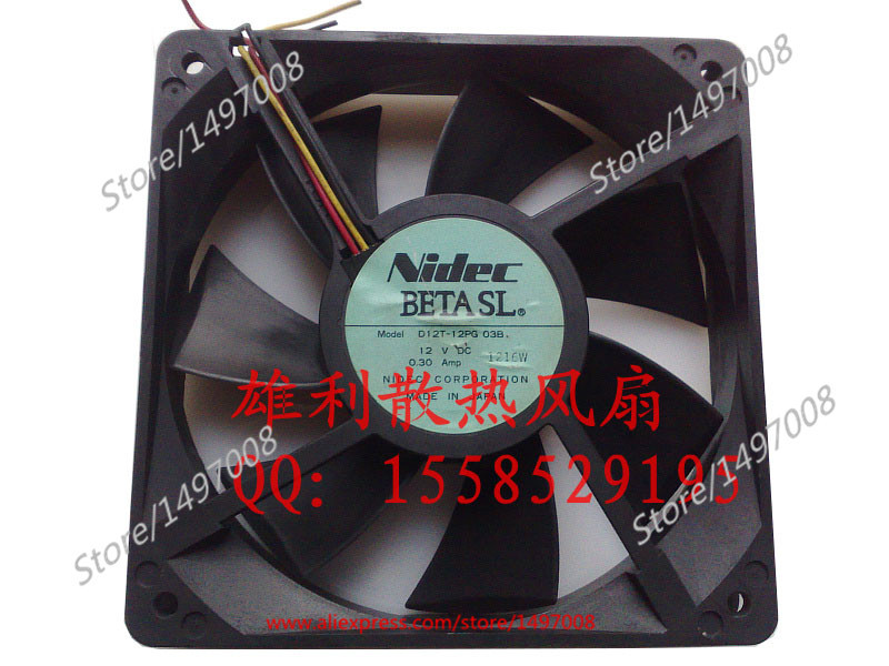 Free Shipping For Nidec  D12T-1PG, 03B  DC 12V 0.30A 3-wire 80mm, 120x120x25mm Server Square fan free shipping for nidec r60w12bs1ac 07a05 dc 12v 1 2a 8 wire 60mm 60x60x56mm server square fan