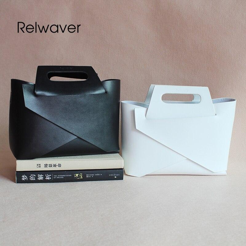 Relwaver black white women bag split leather women leather handbags small brief female shoulder bag tote women's leather bag цена