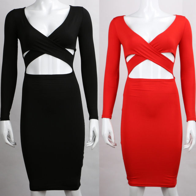 Nadafair Red Black White Long Sleeve Elastic Cotton Warm Party Dresses Vestidos Sexy Midi Pencil Club Bodycon Bandage Dress